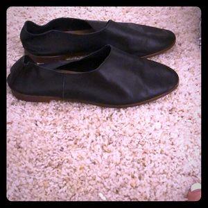 Zara black leather flats